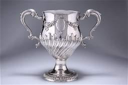 A LARGE GEORGE III IRISH SILVER TWIN-HANDLED CUP,
