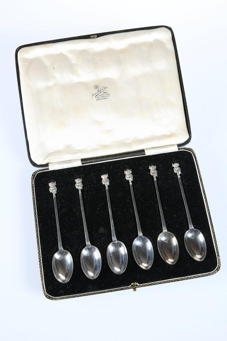 "A SET OF SIX ""LINCOLN IMP"" SILVER SPOONS, JAMES USHER &"