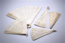 A GROUP OF FIVE CHINESE PIERCED BONE FANS, EARLY 20th