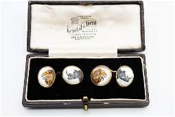 A PAIR OF REVERSE CARVED CRYSTAL INTAGLIO CUFFLINKS