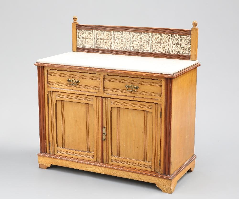 A VICTORIAN MARBLE-TOPPED AND TILE-BACKED ASH