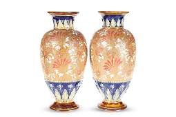 A PAIR OF ROYAL DOULTON SLATERS PATENT STONEWARE