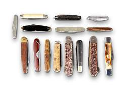 A GROUP OF FIFTEEN ANTIQUE AND VINTAGE POCKET KNIVES