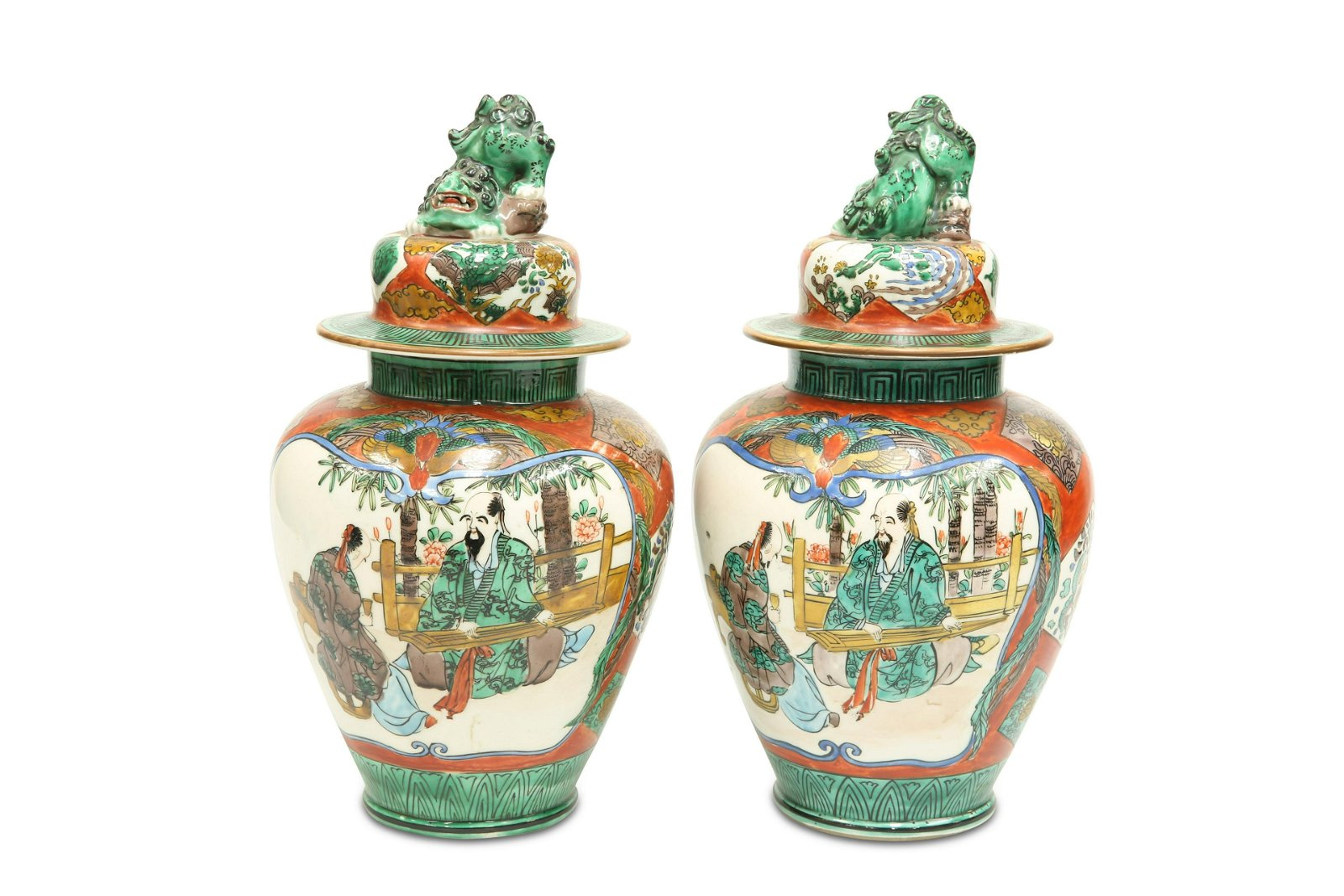 A PAIR OF CHINESE PORCELAIN VASES AND COVERS, LATE 19TH