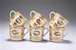 A SET OF SIX ENGLISH COFFEE CUPS, FIRST HALF OF 19TH