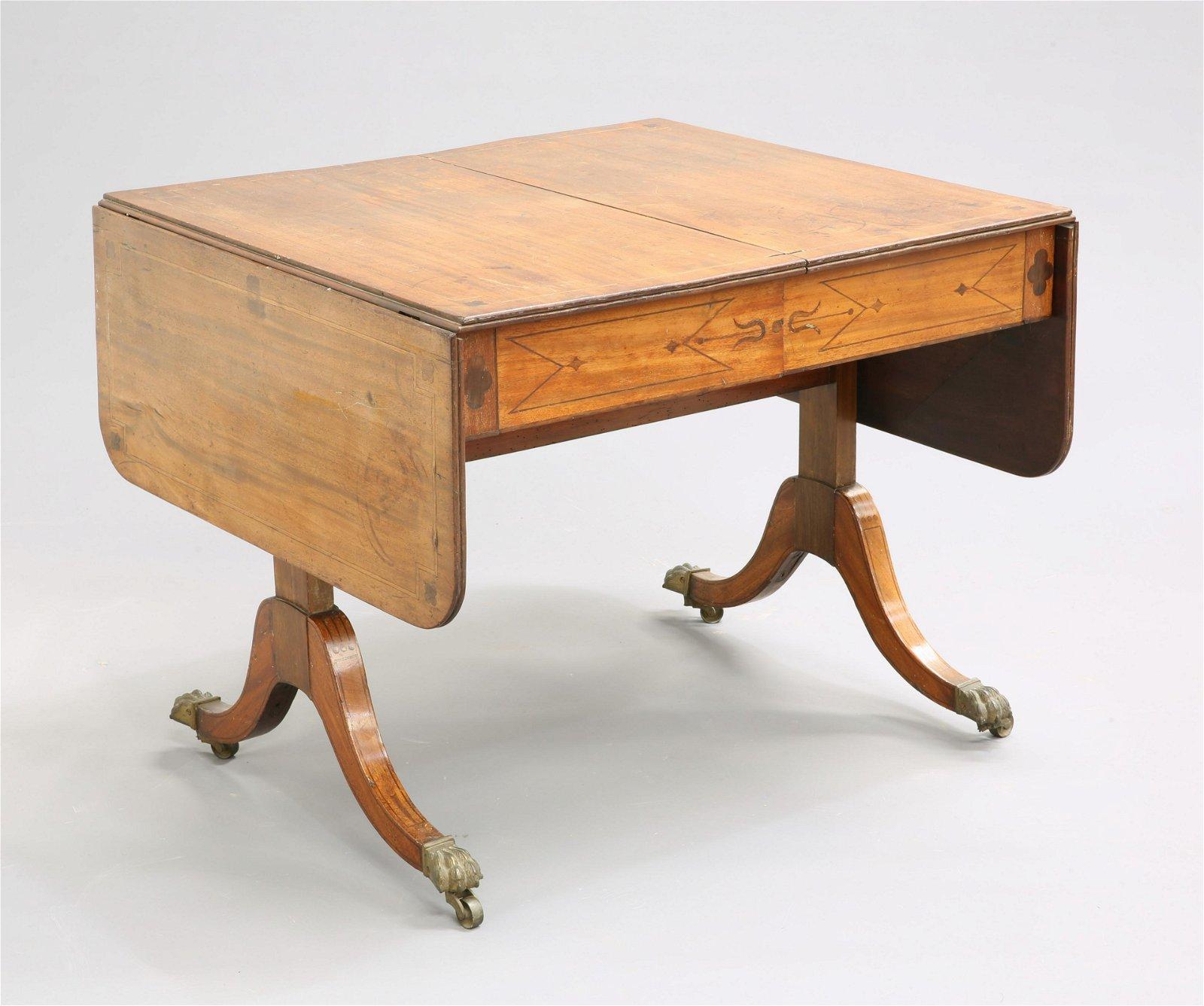 A REGENCY INLAID MAHOGANY SOFA TABLE, a pair of frieze