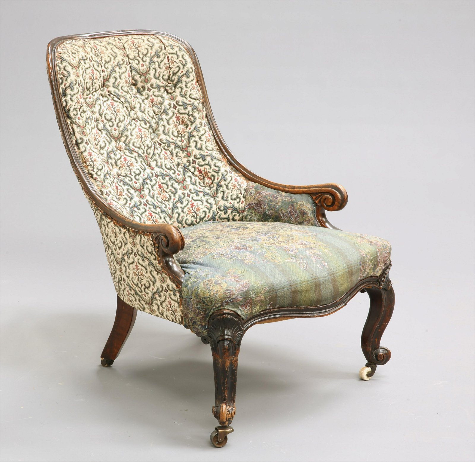 A VICTORIAN SIMULATED ROSEWOOD PARLOUR CHAIR, with