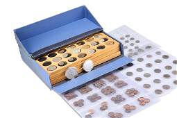 A COLLECTION OF COINS, comprising a large box