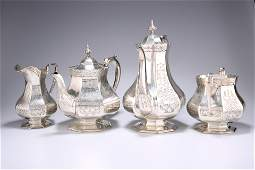 A VICTORIAN SILVER-PLATED FOUR-PIECE TEA AND COFFEE