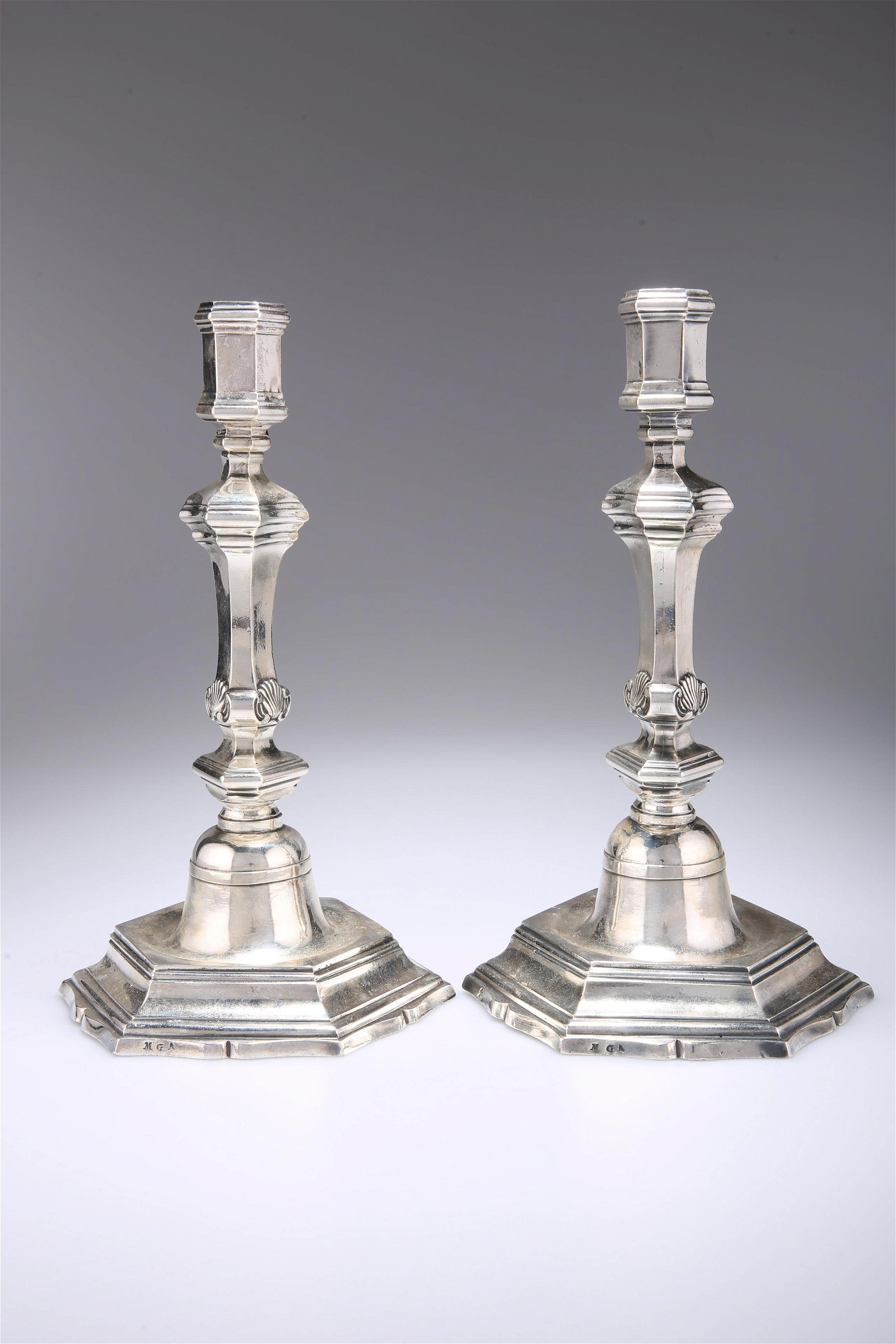 A PAIR OF 18TH CENTURY FRENCH SILVER CANDLESTICKS,