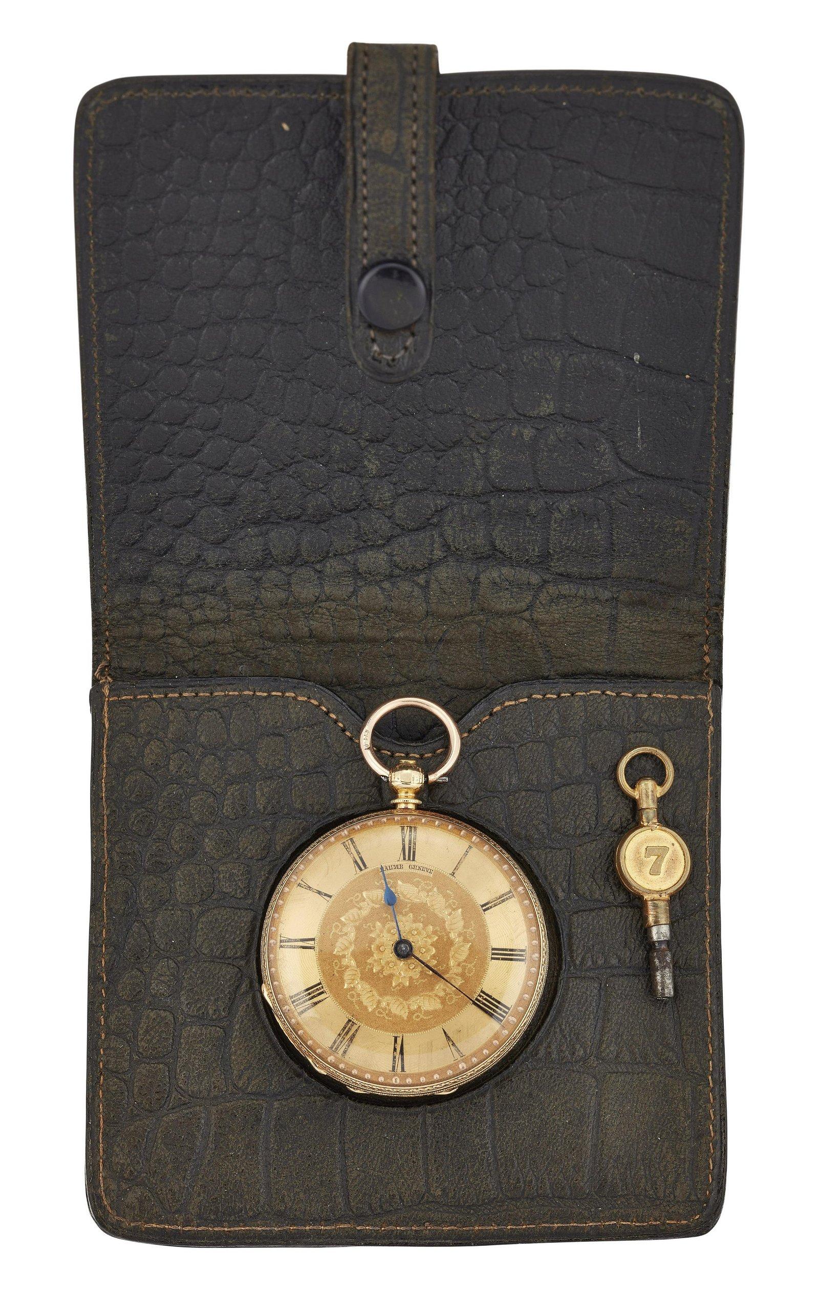 AN 18K GOLD BAUME POCKET WATCH, circular gilt dial