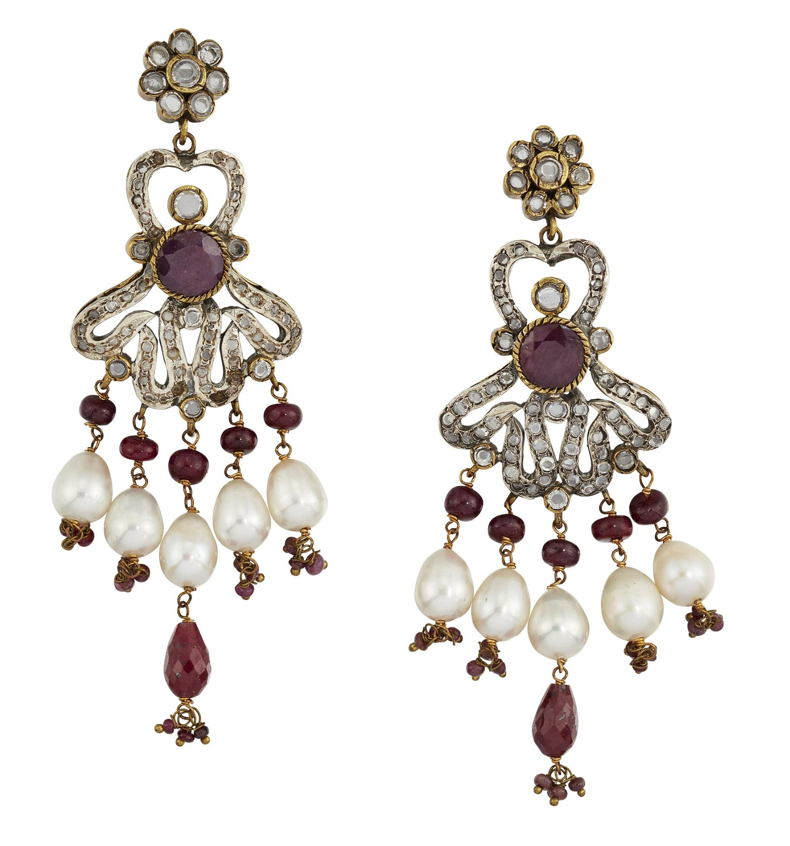 A PAIR OF RUBY, WHITE HARDSTONE AND CULTURED PEARL