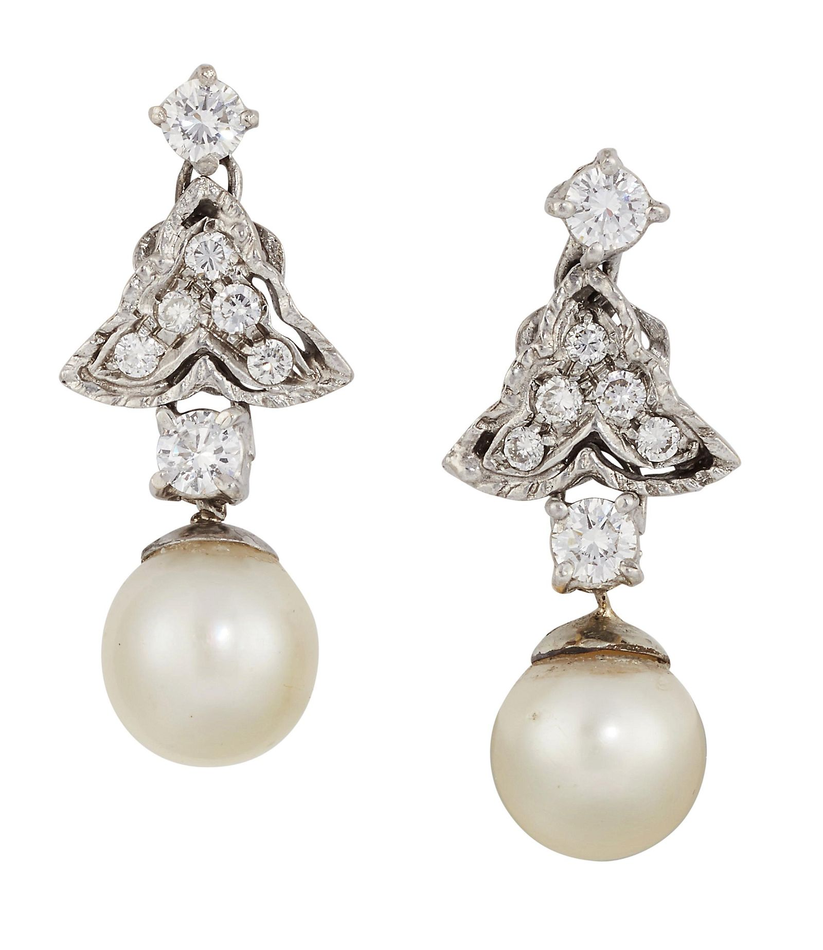 A PAIR OF CULTURED PEARL AND DIAMOND EARRINGS, the