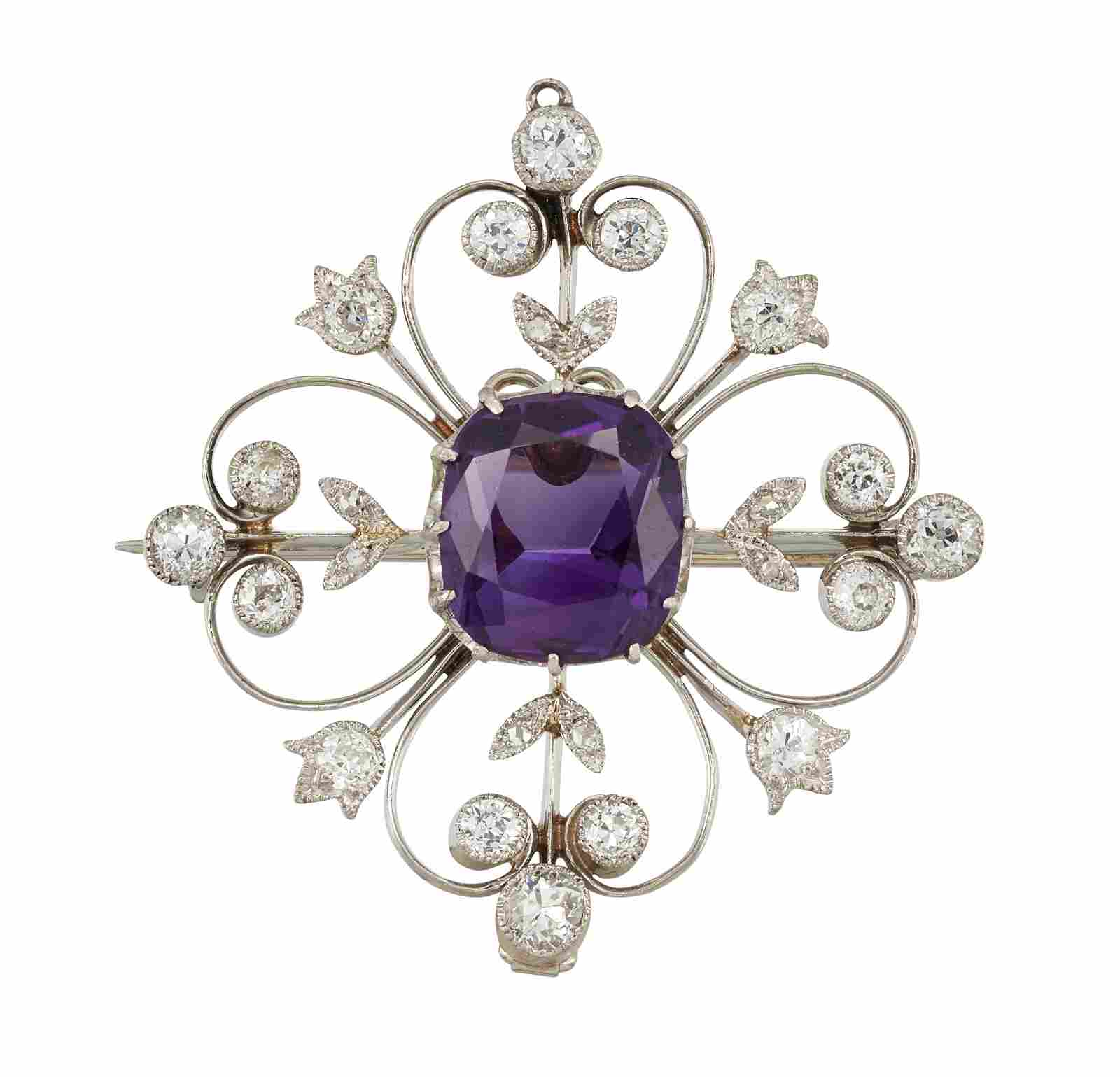 AN AMETHYST AND DIAMOND BROOCH/PENDANT, the cushion cut