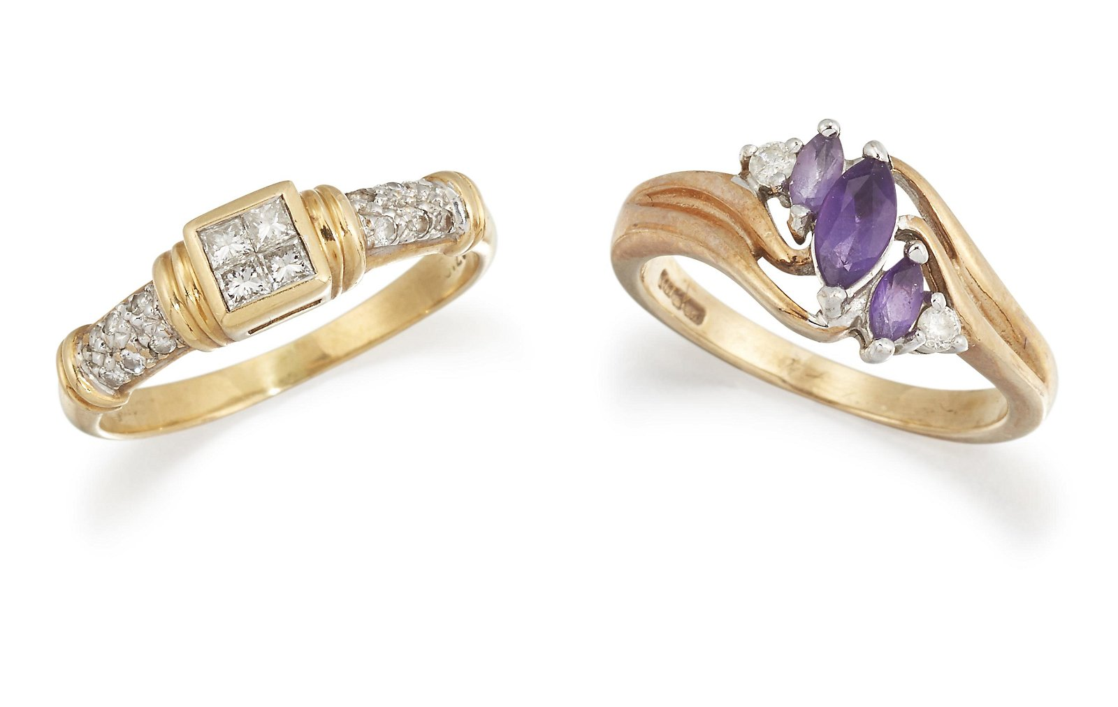 AN 18CT DIAMOND RING AND A 9CT AMETHYST RING, the