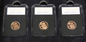 A SET OF THREE LIMITED EDITION PROOF SOVEREIGNS THE
