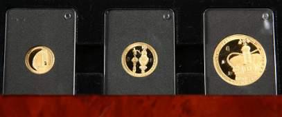 AN ELIZABETH II SAPPHIRE JUBILEE THREE COIN GOLD PROOF