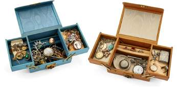 TWO BOXES OF MIXED SILVER AND COSTUME JEWELLERY, to