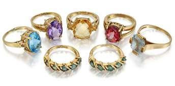 SEVEN 9 CARAT GOLD GEMSET RINGS to include a pair of