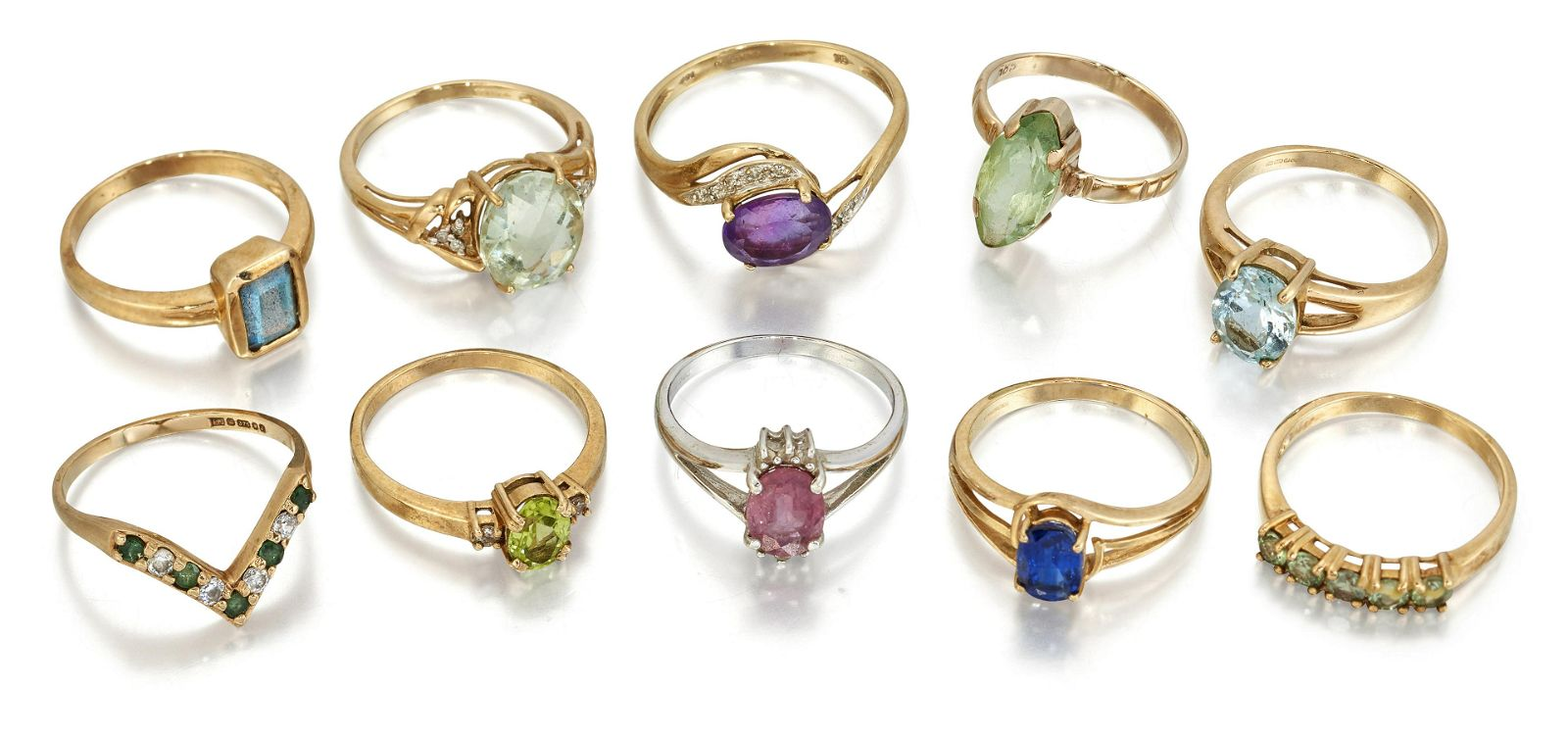 A QUANTITY OF 9 CARAT GOLD GEMSET RINGS, to include