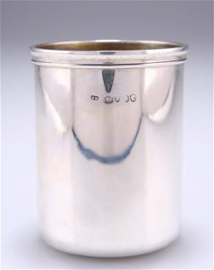 A VICTORIAN SILVER BEAKER, probably by Thomas Diller,