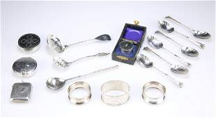 A GROUP OF ASSORTED SILVER including:A SET OF SIX