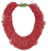 A DYED CORAL BEAD NECKLACE AND IMITATION JADE PENDANT,