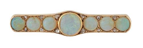 A LATE VICTORIAN OPAL AND DIAMOND BROOCH, a central