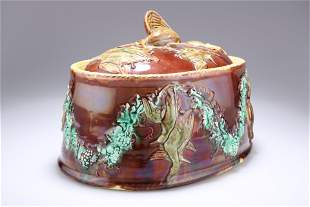 A MAJOLICA GAME PIE DISH, PROBABLY WEDGWOOD, CIRCA
