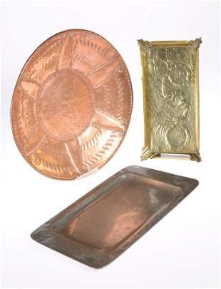 A BRASS TRAY, rectangular with everted corners and