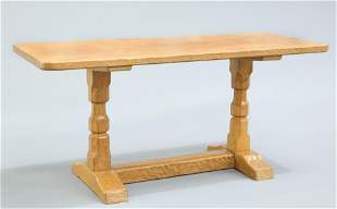 A YORKSHIRE OAK COFFEE TABLE, the adzed rectangular top