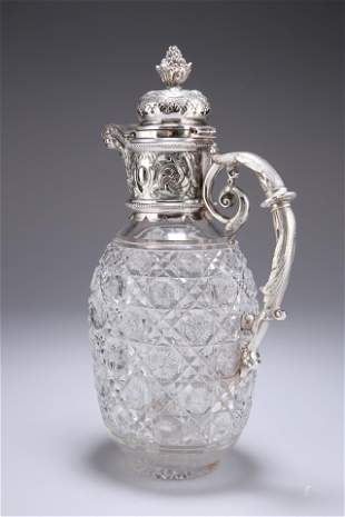 A SILVER-PLATE MOUNTED CUT-GLASS CLARET JUG, the hinged