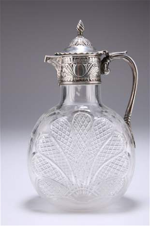 A VICTORIAN SILVER-MOUNTED CUT-GLASS CLARET