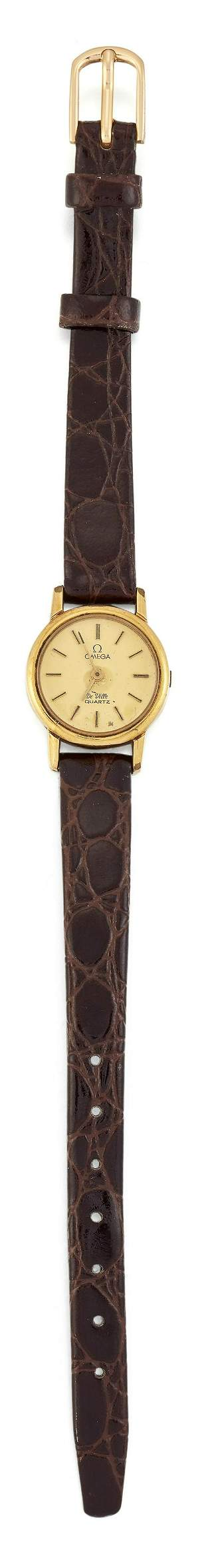 A LADY'S GOLD PLATED OMEGA STRAP WATCH, circular
