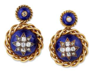 A PAIR OF 19TH CENTURY DIAMOND AND BLUE ENAMEL PENDANT