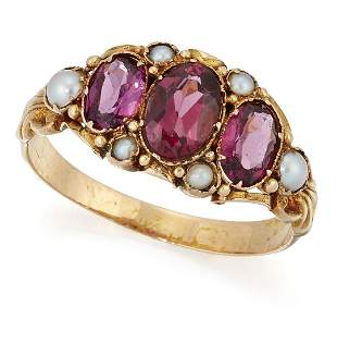 A VICTORIAN GARNET AND PEARL RING, three graduated