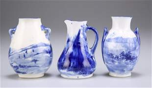 THREE PIECES OF ROYAL DOULTON MINIATURE BLUE AND WHITE