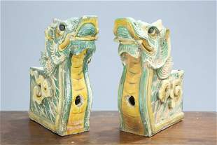 A PAIR OF CHINESE SANCAI GLAZED RIDGE TILES, in the