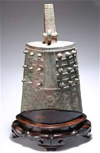 A RARE AND LARGE BRONZE BELL, YONG ZHONG, LATE SPRING