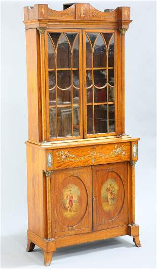 AN EDWARDIAN PAINTED SATINWOOD SECRETAIRE BOOKCASE, IN