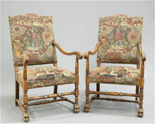 A PAIR WILLIAM AND MARY STYLE BEECH AND UPHOLSTERED