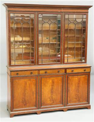 A LATE VICTORIAN INLAID MAHOGANY LIBRARY BOOKCASE, BY