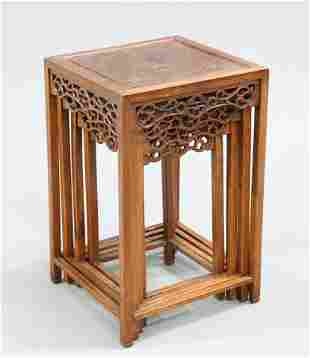 A SET OF FOUR CHINESE INLAID HARDWOOD NESTING TABLES,