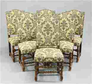 A SET OF SIX FRENCH OAK AND UPHOLSTERED DINING CHAIRS,