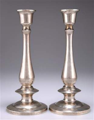 A PAIR OF THAI SILVER CANDLESTICKS, of baluster form