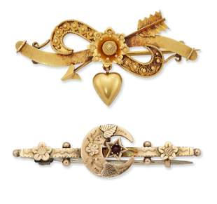 TWO LATE VICTORIAN BROOCHES, COMPRISING; A SENTIMENTAL