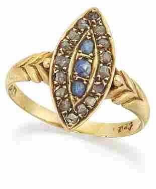 AN EDWARDIAN 18 CARAT GOLD SAPPHIRE AND DIAMOND NAVETTE