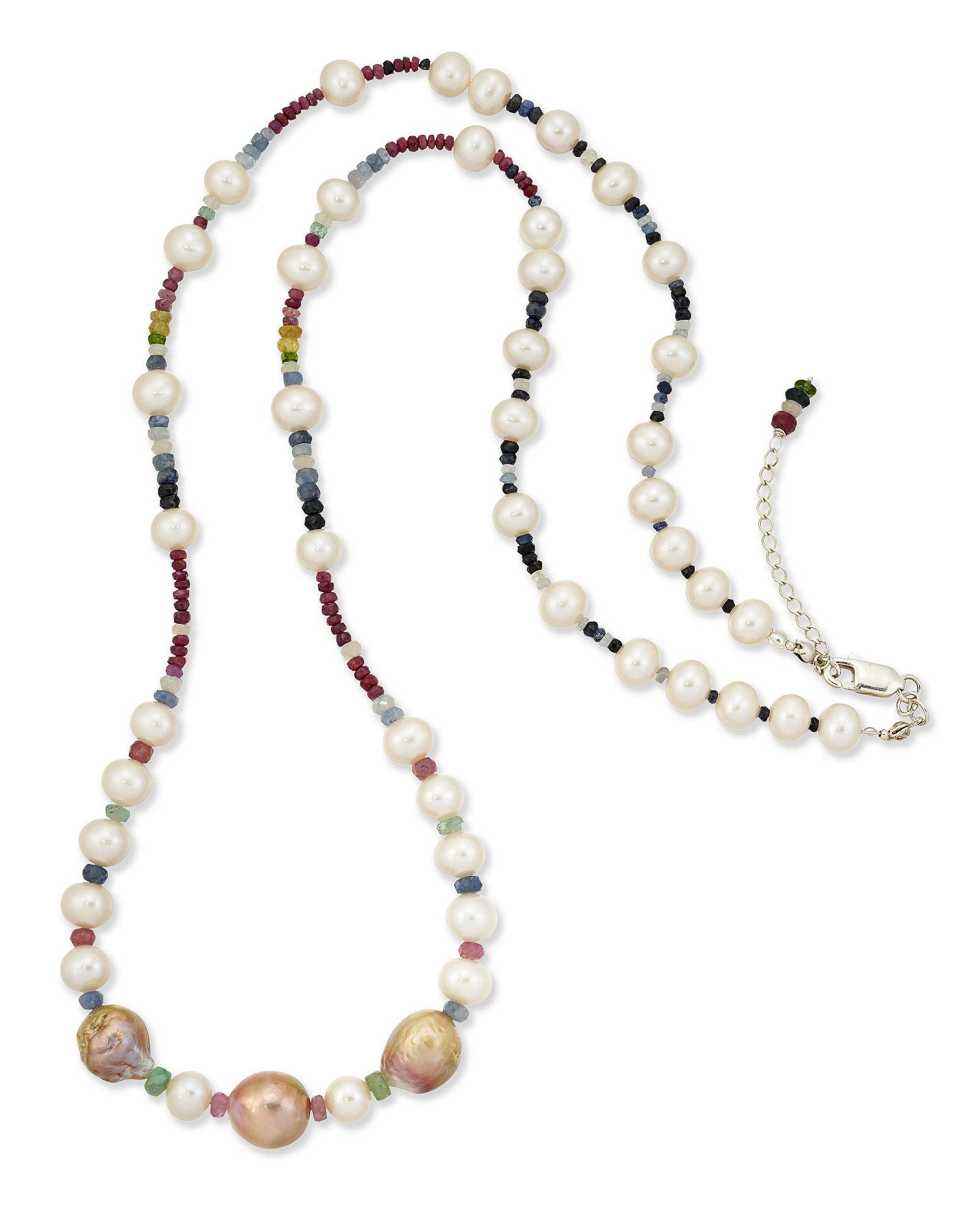 A CULTURED PEARL AND GEMSTONE BEAD NECKLACE, large