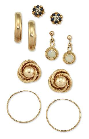 FIVE PAIRS OF EARRINGS, COMPRISING; A PAIR OF 9 CARAT