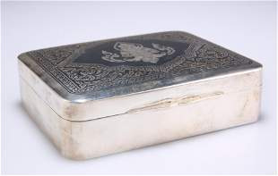 AN EARLY 20TH CENTURY THAI SILVER CIGARETTE BOX,